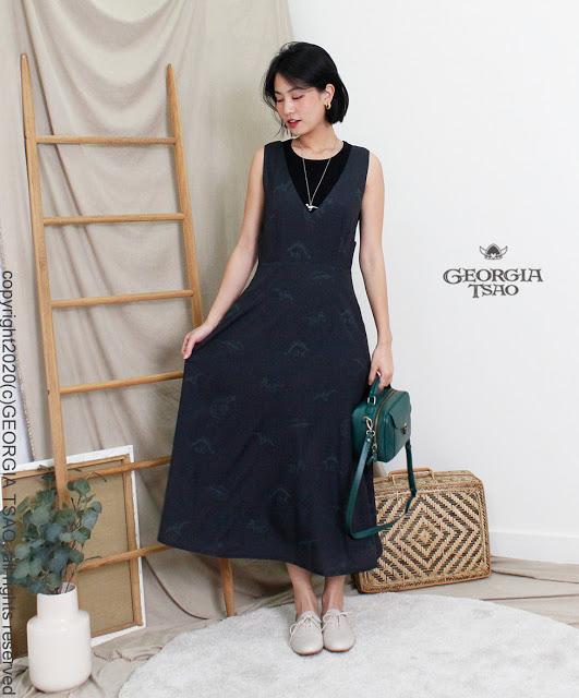 GT Print V領吊帶裙
