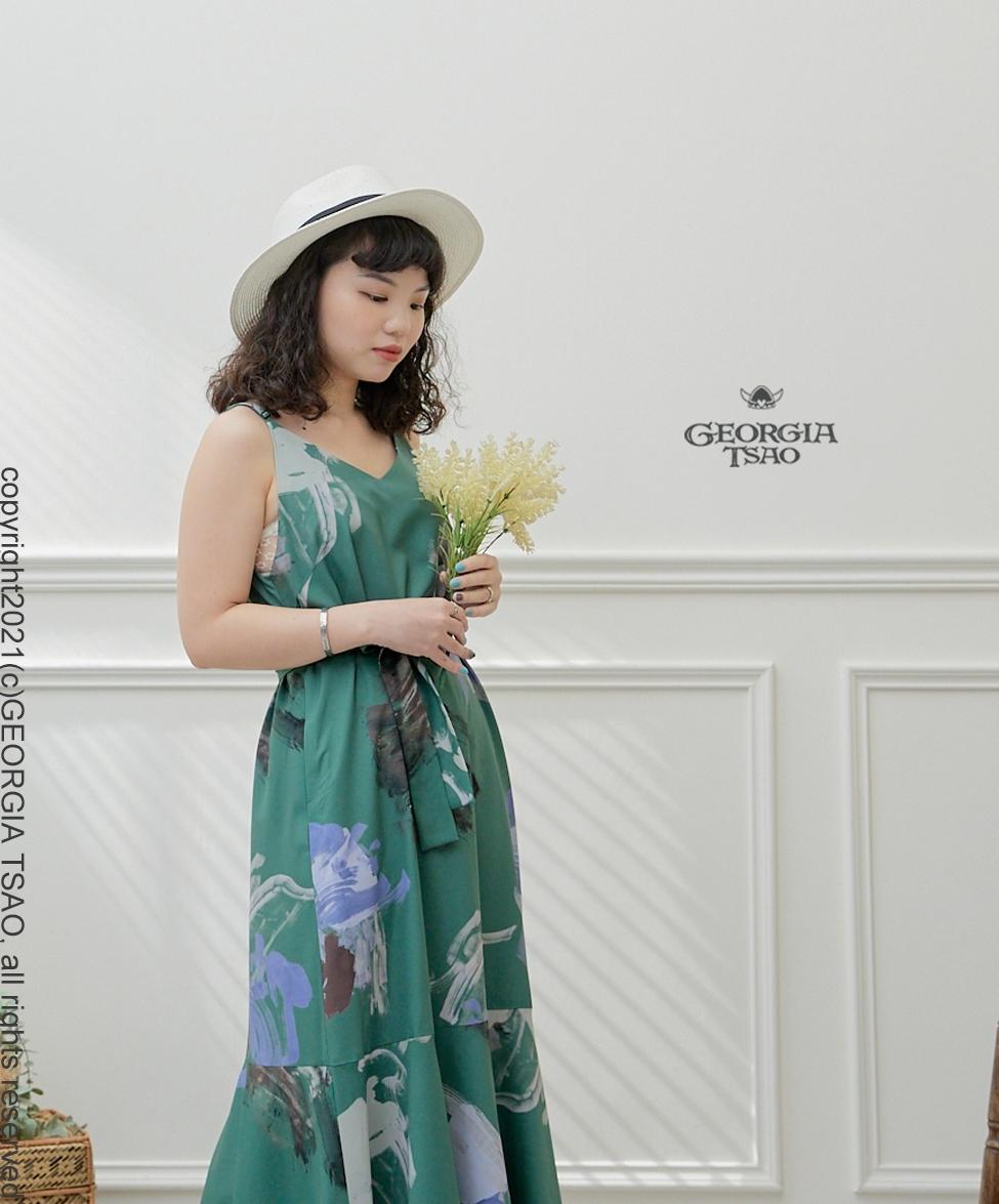 GT Print 細肩帶魚尾洋裝