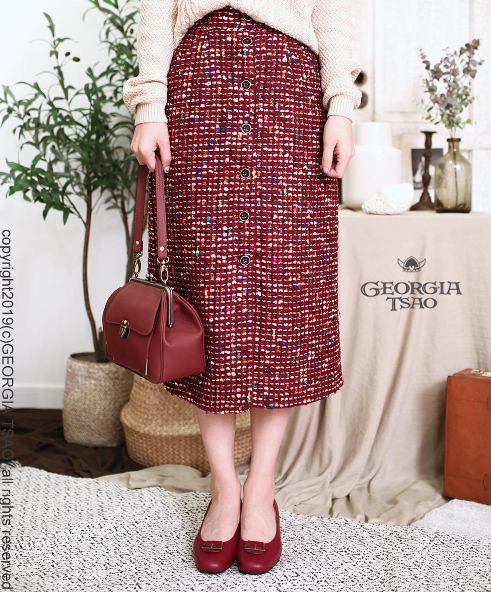 GT後拉鍊排釦窄裙