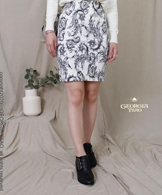GT 黑白圖騰鉛筆裙