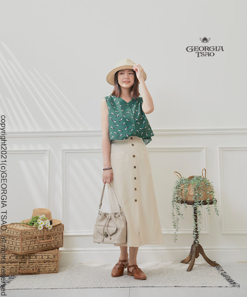 GT 前口袋排釦窄裙