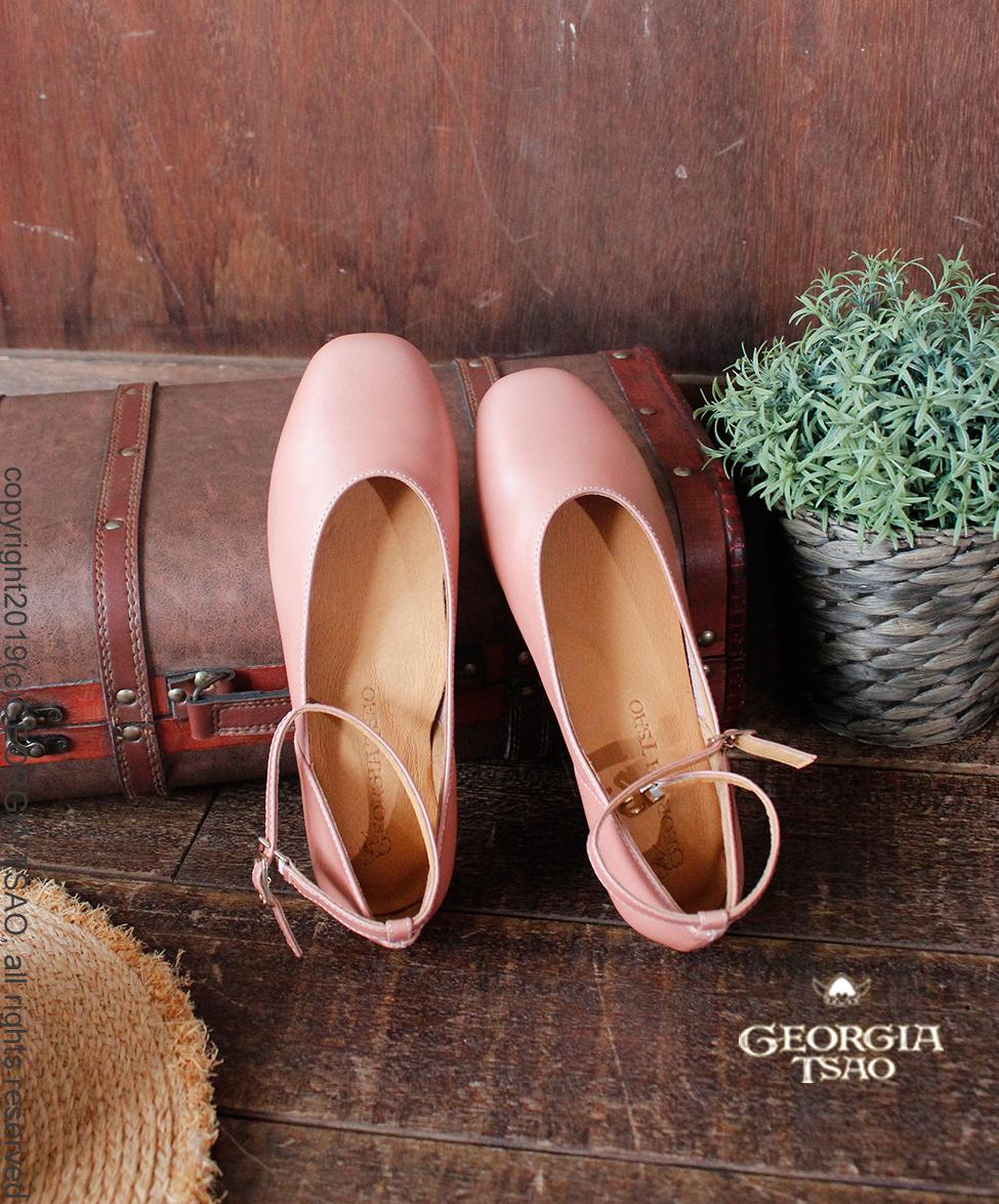 GT全真皮側V芭蕾舞鞋