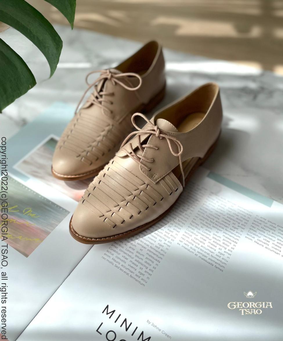 GT全真皮編織鏤空涼鞋