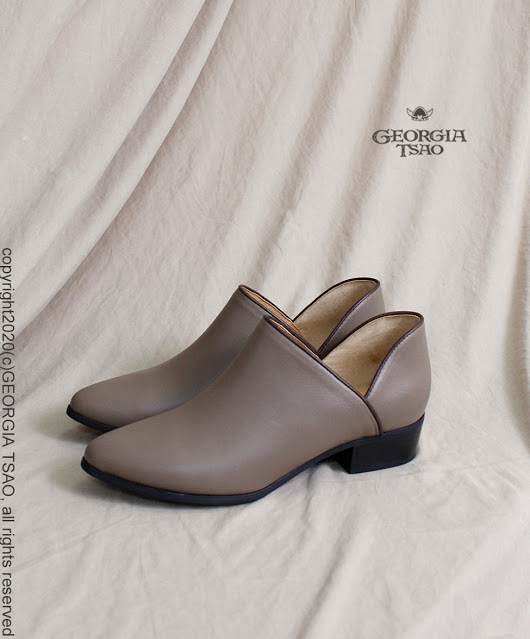 GT全真皮側V踝靴