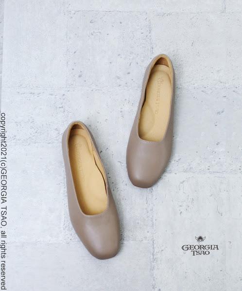 GT全真皮方頭奶奶鞋
