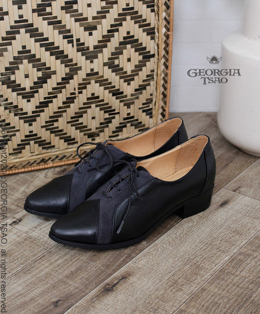 GT全真皮拼接紳士鞋(黑x深藍)