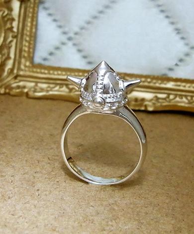 GT 立體維京帽純銀戒指
