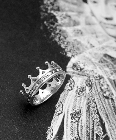 GT 皇冠花邊純銀戒指