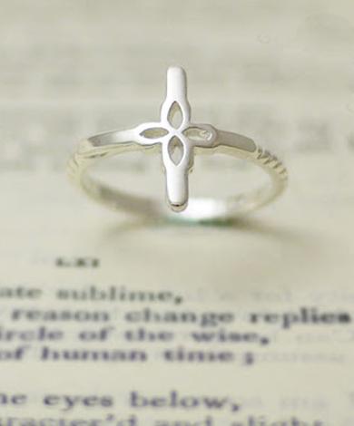 GT 蕾絲十字架純銀戒指