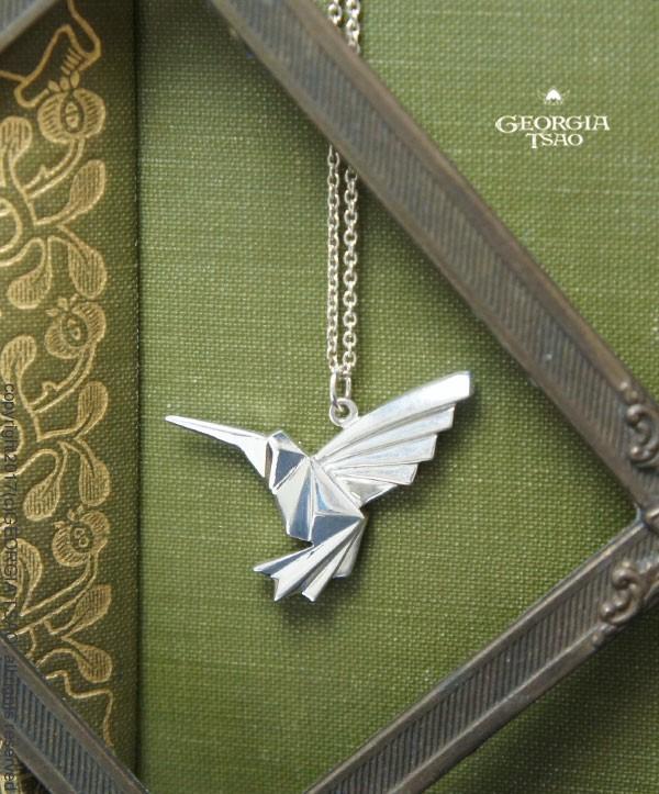 摺紙小蜂鳥純銀項鍊-24吋