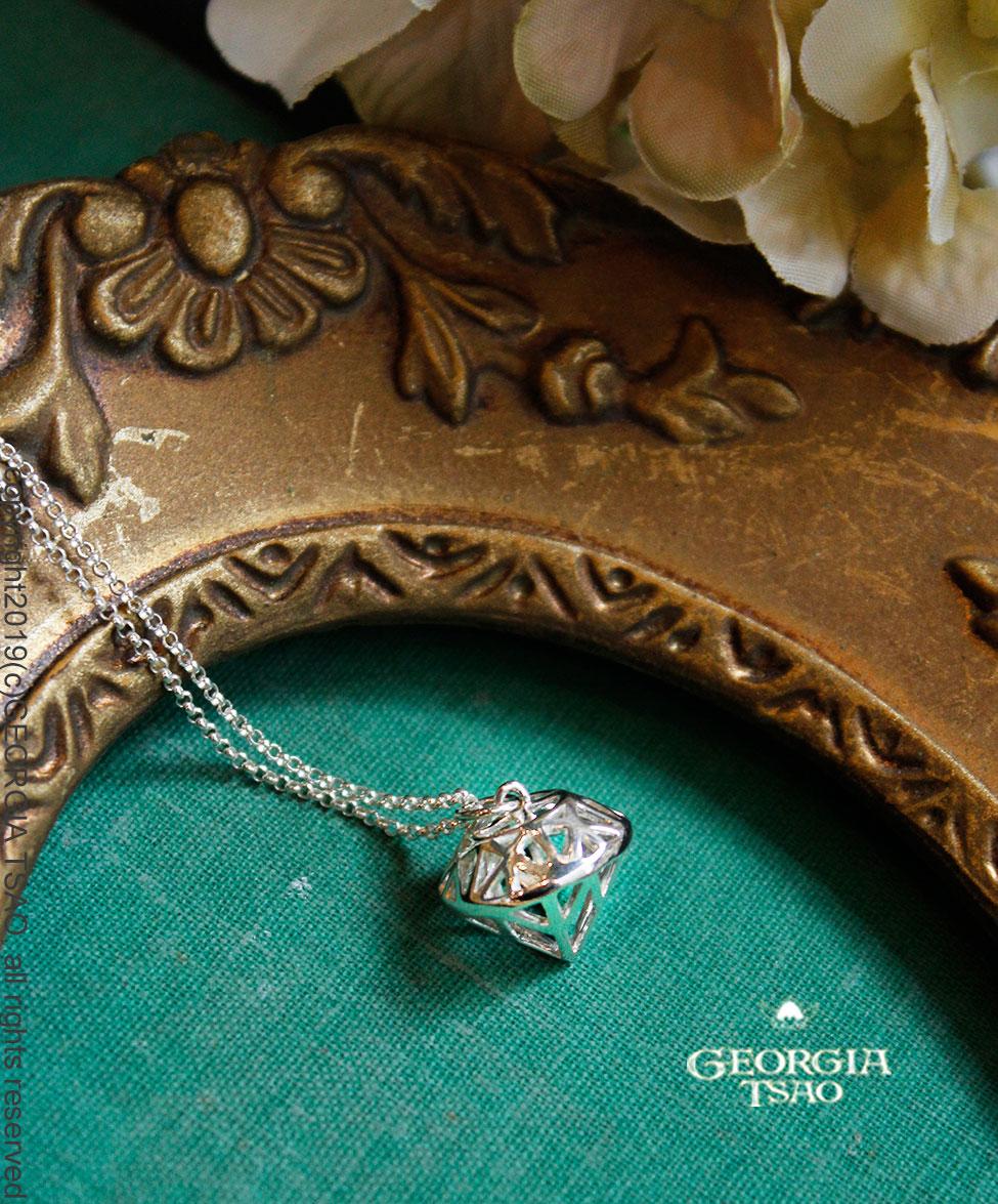立體小鑽石純銀項鍊