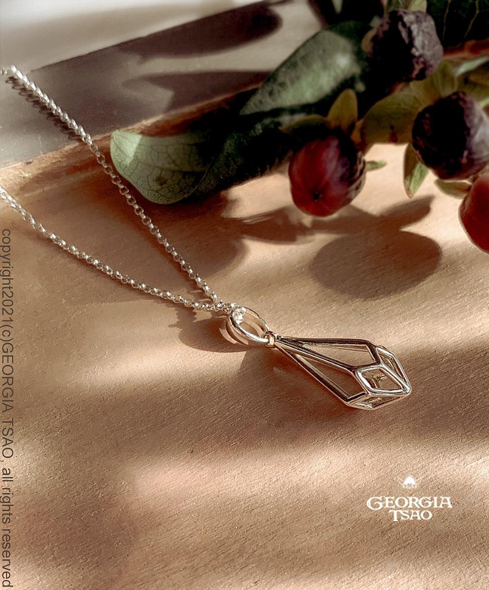 立體水滴純銀項鍊