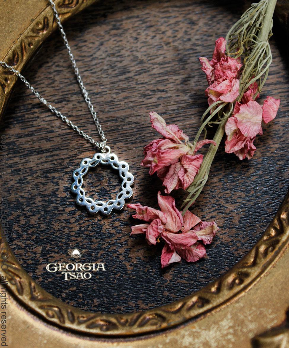 圓形花邊純銀項鍊