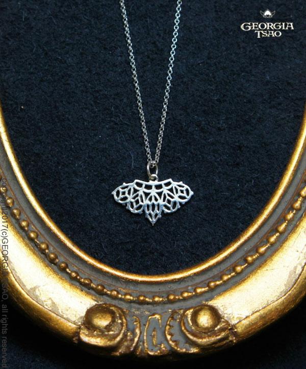 鑽石蕾絲純銀項鍊