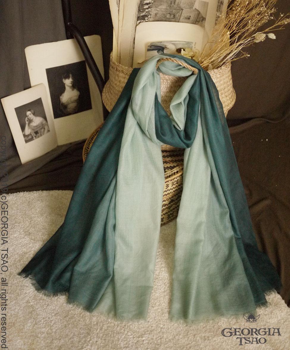 GT羊絨圍巾-漸層綠