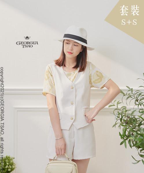 西裝背心/短褲套裝組-白色 S/S