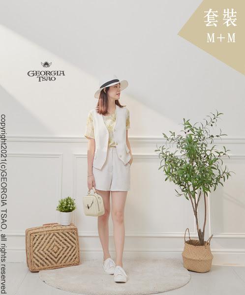 西裝背心/短褲套裝組-白色M/M