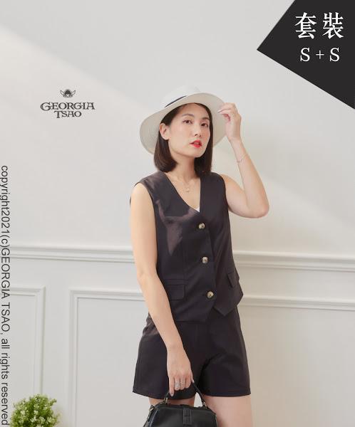 西裝背心/短褲套裝組-黑色S/S