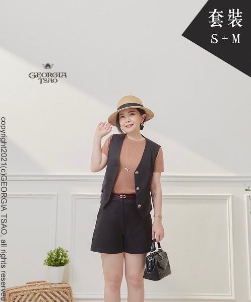 西裝背心/短褲套裝組-黑色S/M