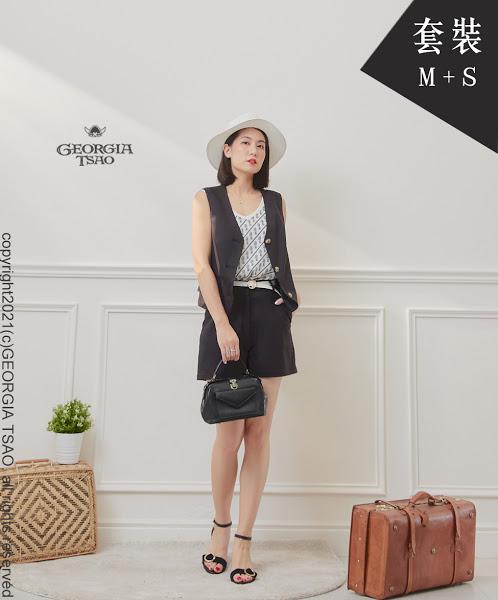 西裝背心/短褲套裝組-黑色M/S