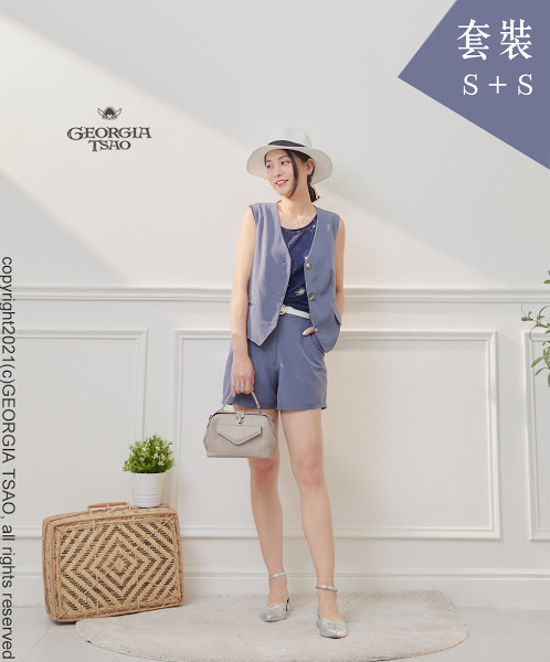 西裝背心/短褲套裝組-藍灰S/S