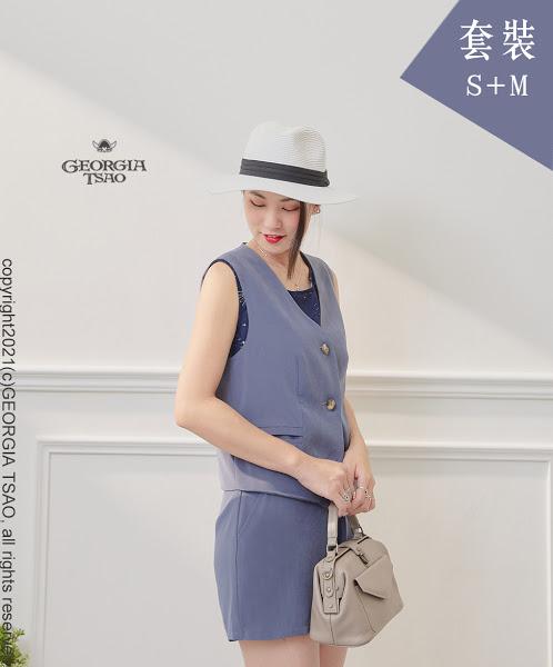 西裝背心/短褲套裝組-藍灰S/M