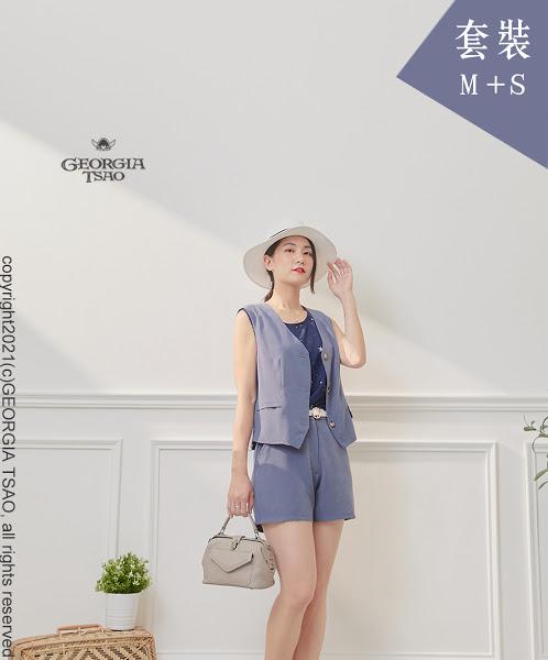 西裝背心/短褲套裝組-藍灰M/S