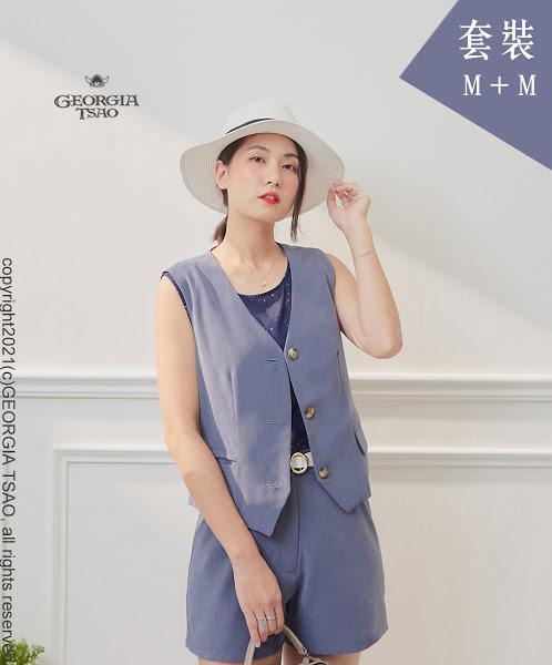 西裝背心/短褲套裝組-藍灰M/M