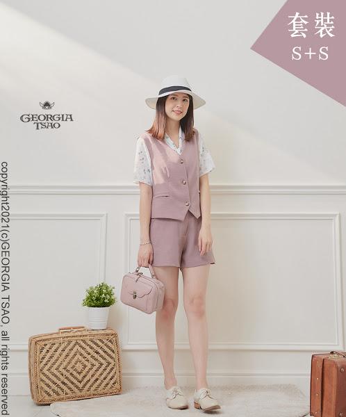 西裝背心/短褲套裝組-粉紫S/S