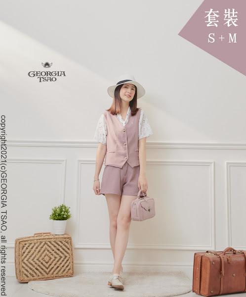 西裝背心/短褲套裝組-粉紫S/M