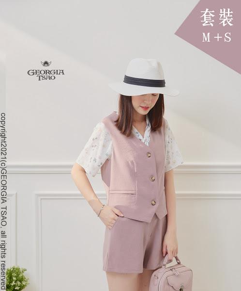 西裝背心/短褲套裝組-粉紫M/S