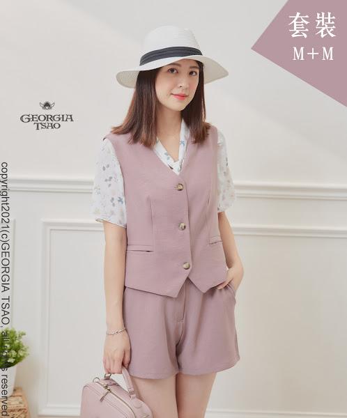 西裝背心/短褲套裝組-粉紫M/M