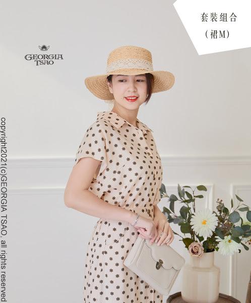 GT小花朵朵-法式袖襯衫/排釦魚尾裙 F/M