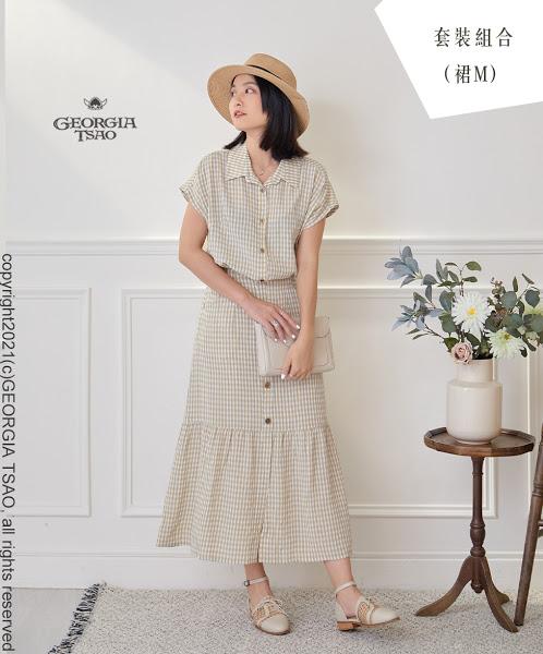 GT鬆餅小格-法式袖襯衫/排釦魚尾裙 F/M